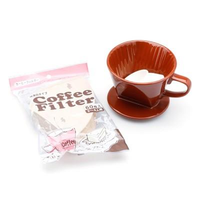 Bộ ly sứ và giấy lọc cà phê (nâu, kraft)