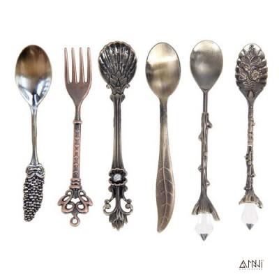 Bộ 6 muỗng nĩa Hoàng Gia-Vàng Cổ