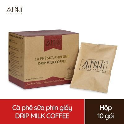 Cà phê sữa phin giấy Anni Coffee - Drip Milk Coffee - (10 Gói x 15g) 100% Arabica & Robusta nguyên chất Kèm gói bột sữa