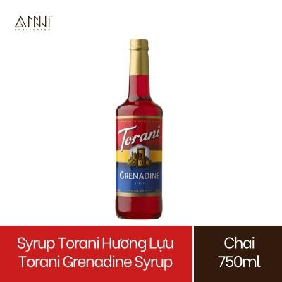 Syrup Torani Chai thủy tinh Hương Lựu (750ml) - Nhập khẩu Mỹ - Torani Grenadine Syrup, Siro Lựu - pha chế trà, trà sữa