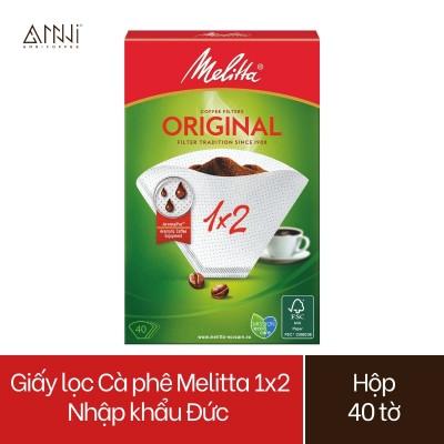 Giấy lọc Cà phê Melitta 1x2 Nhập khẩu Đức Hộp 40 tờ màu Trắng - Hàng chính hãng
