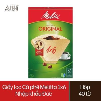 Giấy lọc Cà phê Melitta 1x6 Nhập khẩu Đức Hộp 40 tờ màu Nâu - Hàng chính hãng