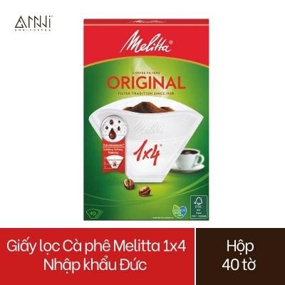 Giấy lọc Cà phê Melitta 1x4 Nhập khẩu Đức Hộp 40 tờ màu Trắng - Hàng chính hãng