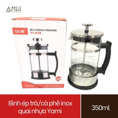 Bình ép pha trà và cafe Inox quai nhựa Yami (350ml) Chất liệu Inox cao cấp, bền, đẹp - Bình pha cà phê kiểu Pháp
