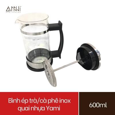 Bình ép pha trà và cafe Inox quai nhựa Yami (600ml) Chất liệu Inox cao cấp, bền, đẹp - Bình pha cà phê kiểu Pháp