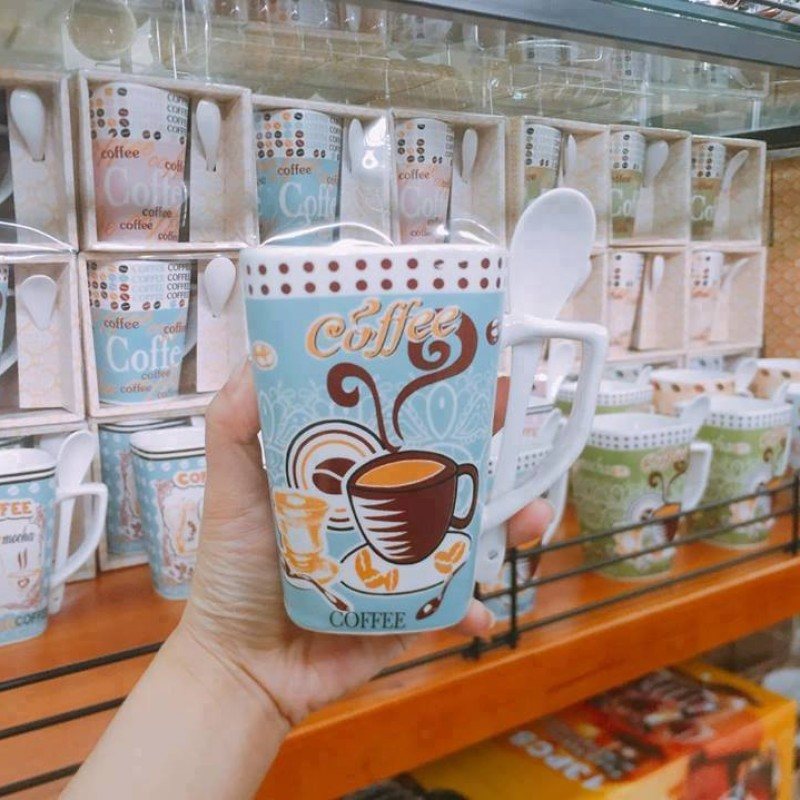 Ly sứ coffee xanh dương có muỗng